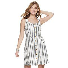 Juniors' SO® Button Front Dress