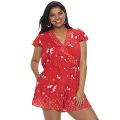 Juniors Plus Mudd® Print Surplice Romper