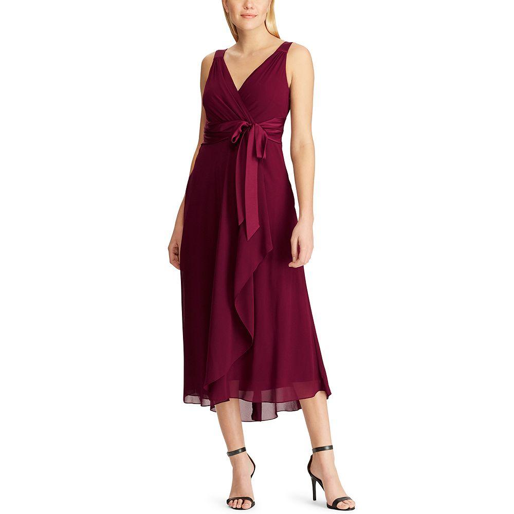 Women's Chaps Sleeveless Tea Length Gown Dress