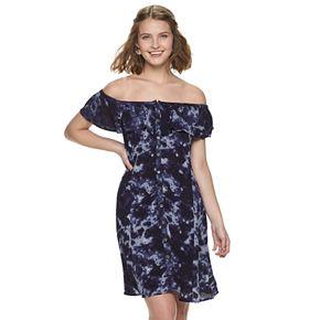 Juniors' Mudd® Off-the-Shoulder Ruffled Bandana Dress