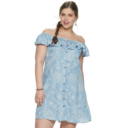Juniors' Plus Size Mudd® Button Front Ruffled Dress