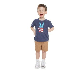 Toddler Boy Family Fun? American Flag Peace Sign Graphic Tee