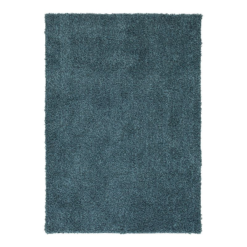 The Big One Solid Shag Rug, Blue, 4X6 Ft