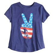 Girls 7-16 Family Fun American Flag Peace Sign Graphic Tee