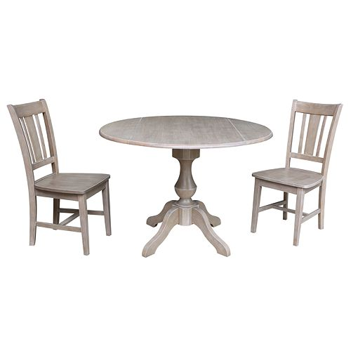 International Concepts Camille Pedestal Table & Chairs 3-pc. Dining Set