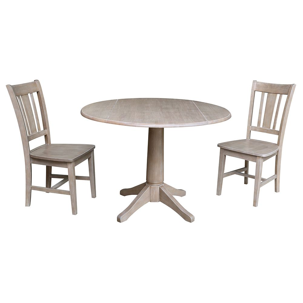 International Concepts Jayden Pedestal Table & Chairs 3-pc. Dining Set