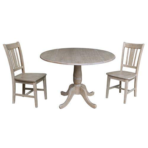 International Concepts Jordan Pedestal Table & Chairs 3-pc. Dining Set