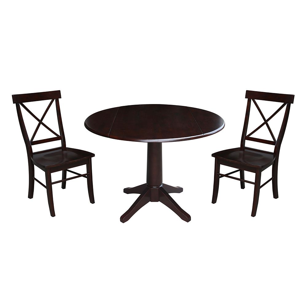 International Concepts Riley Pedestal Table & Chairs 3-pc. Dining Set
