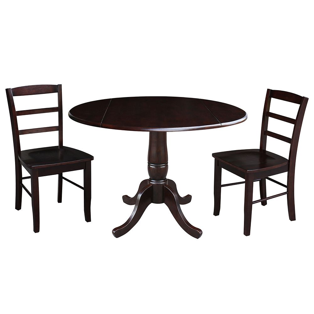 International Concepts Christine Pedestal Table & Chairs 3-pc. Dining Set