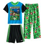 Boys 4-10 Minecraft he Mobs 3-Piece Pajama Set