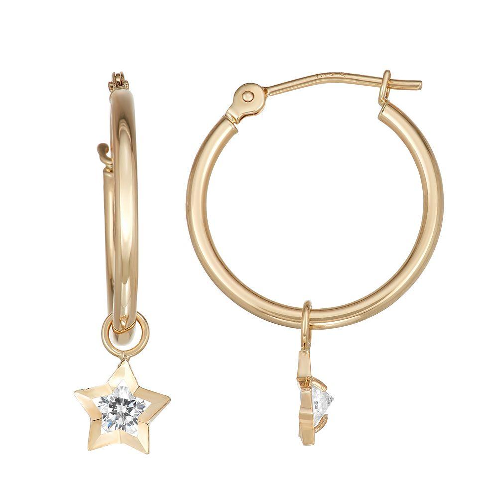 FOREVER 14K Gold Star Charm Hoop Earrings