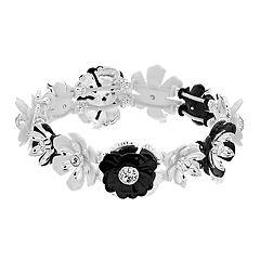 Dana Buchman Silver-Tone & Black Flower Stretch Bracelet