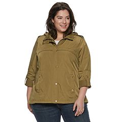 Plus Size Weathercast Hooded Roll-Tab Anorak Jacket
