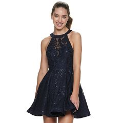 NEW! Juniors' Speechless Illusion Neck Fit & Flare Dress