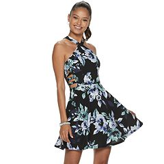 6bb9a61b556 Juniors  Speechless Y-Neck Floral Print Skater Dress