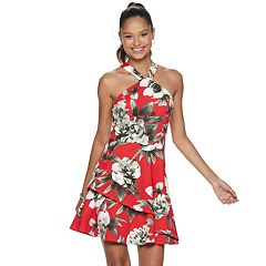 dc4081948d0b Juniors' Speechless Y-Neck Floral Print Skater Dress