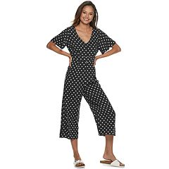 Juniors' Almost Famous Flutter Sleeve Polka-Dot Jumpsuit