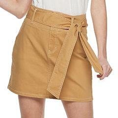 NEW! Juniors' Rewash Belted Twill Skirt