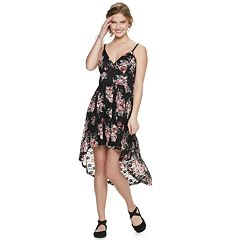 NEW! Juniors' Lily Rose Printed Lace High-Low Molded Cup Dress
