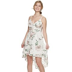 438e05639faf Juniors  Lily Rose Printed Lace High-Low Molded Cup Dress