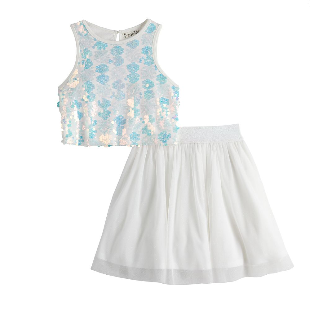 Girls Knit Works 2-Piece Sequin Crop Top with Skirt