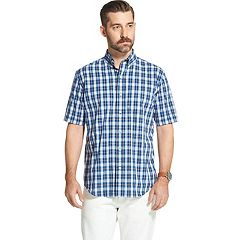 Men's Arrow Hamilton Plaid Poplin Short-Sleeved Button-Down Shirt
