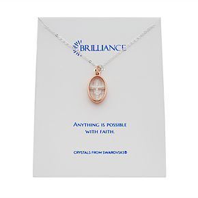 Women's Brilliance Rose-Gold Tone Swarovski Crystal Cross Pendant Necklace