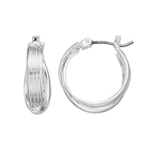 Dana Buchman Silver Tone Twisted Hoop Earrings