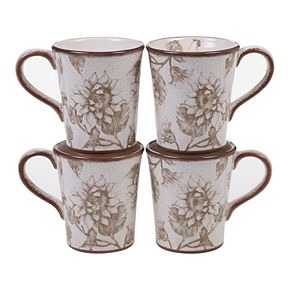 Certified International Toile Rooster 4-pc. Mug Set