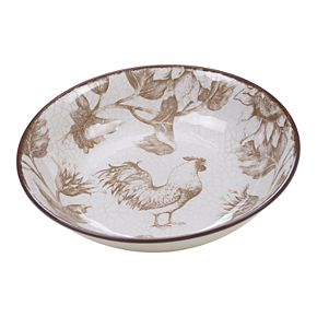 Certified International Toile Rooster Pasta Serving Bowls
