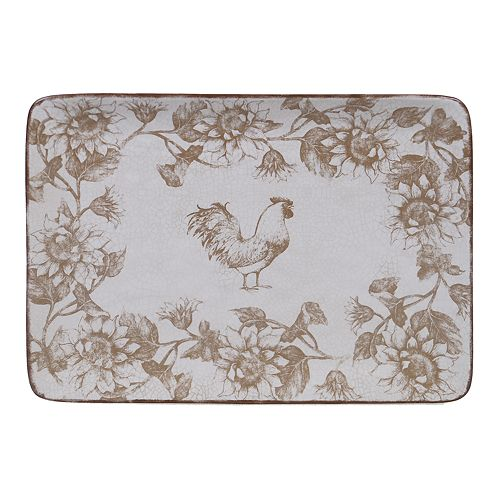 Certified International Toile Rooster Rectangle Platter