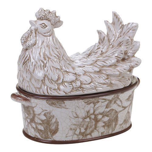 Certified International Toile Rooster Covered Bowl