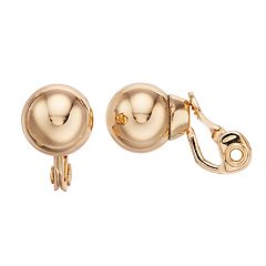 Dana Buchman Gold Tone Ball Clip On Earrings