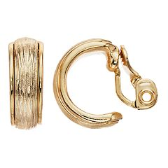 Dana Buchman Textured Hoop Clip On Earrings