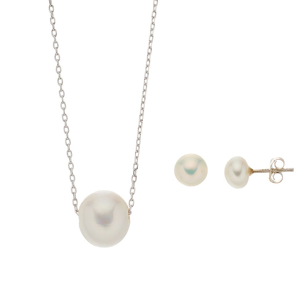 Aleure Cultured Freshwater Pearl Pendant Necklace & Stud Earrings Set