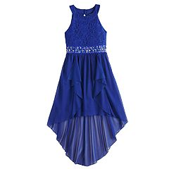Girls 7-16 My Michelle Glitter Lace High-Low Dress