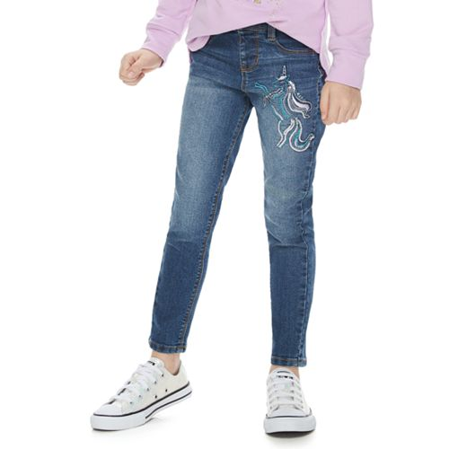 Girls 4-12 SONOMA Goods for Life™ Sequined Unicorn Skinny Jeans
