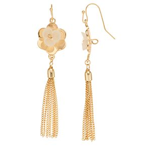 LC Lauren Conrad Cupped Flower with Tassle Drop Earrings