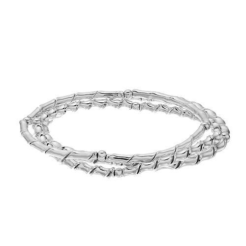 Dana Buchman Silver-Tone Stretch Bangle Bracelet Set