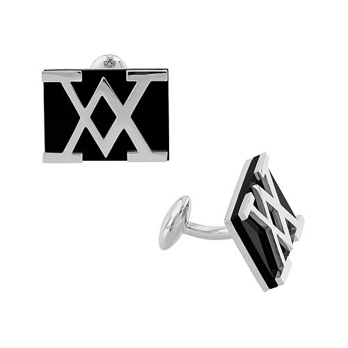Stella Grace Men's Sterling Silver Onyx Cuff Links