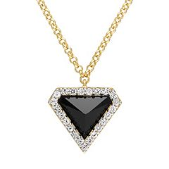 Stella Grace 18k Gold Over Silver Black Agate Triangle Pendant