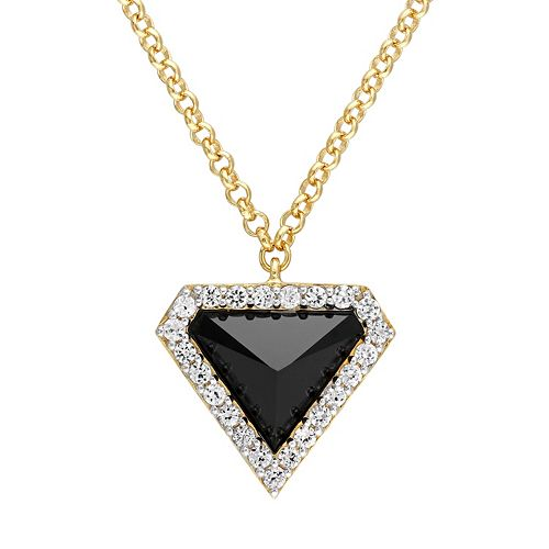 Stella Grace 18k Gold Over Silver Black Agate Triangle Pendant