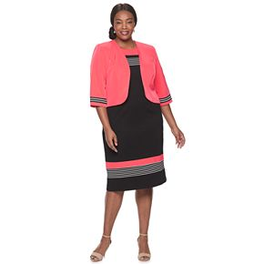 Women's Plus Size Maya Brooke Striped Jacket Dress