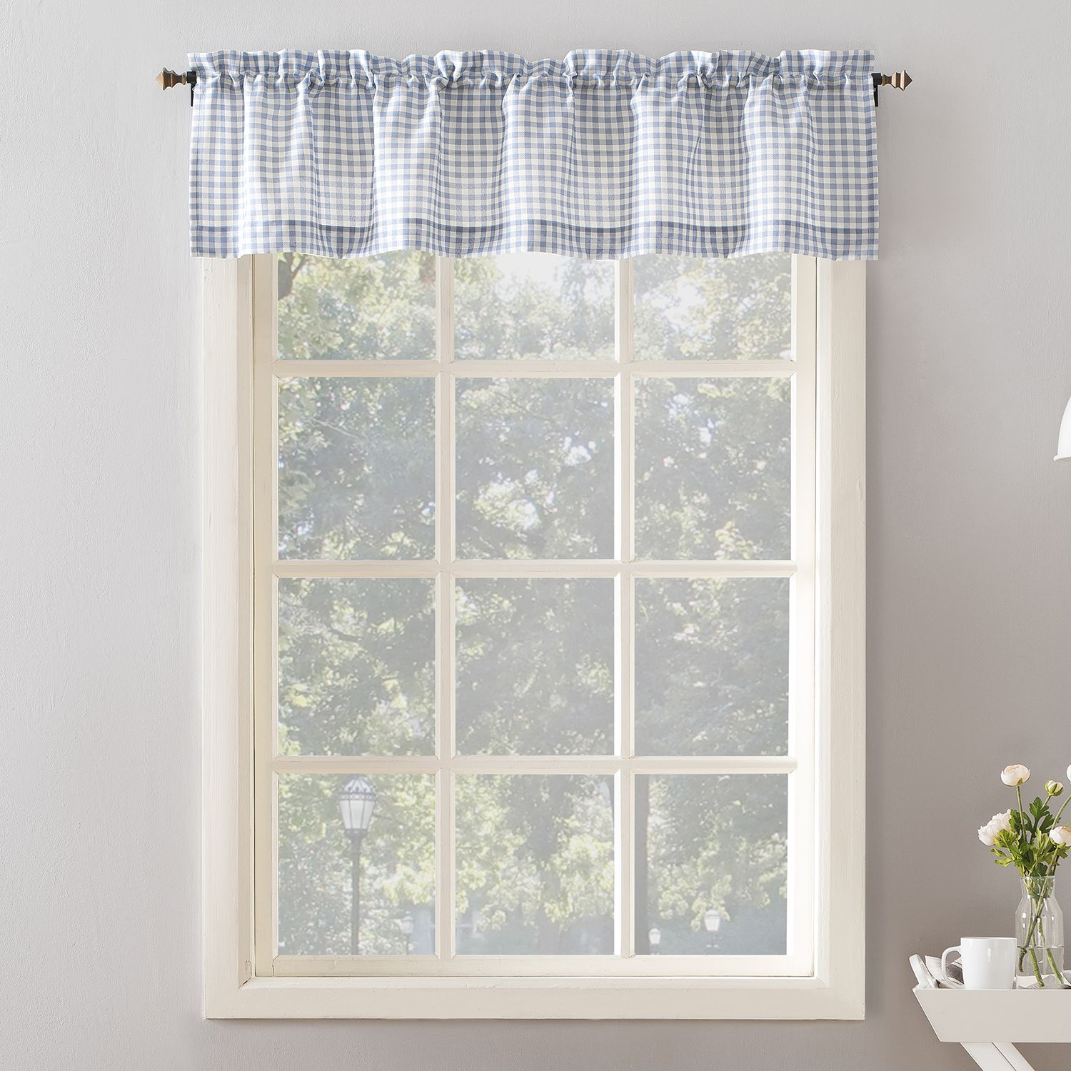 Top Of The Window Cagney Gingham Plaid Kitchen Valance. Blue