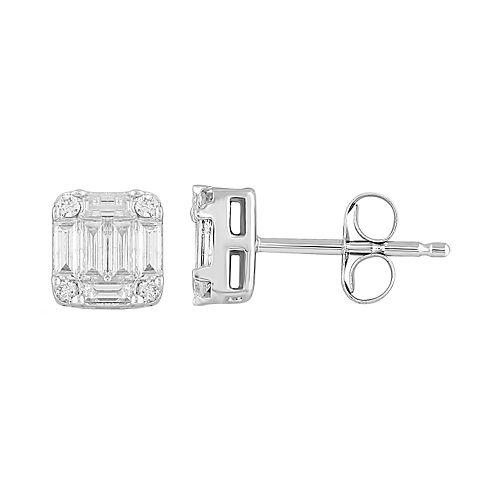 10k White Gold 1/3 Carat T.W. Diamond Baguette Stud Earrings