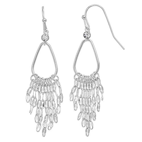 Women's LC Lauren Conrad Silver Drop Ear With Sparkle Chain Dangle Earrings