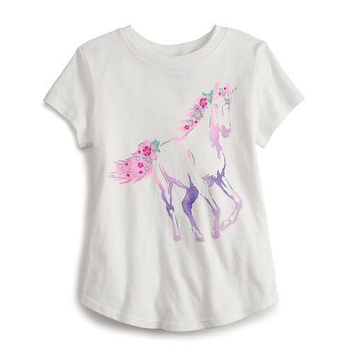 Girls 4-12 Jumping Beans® Glittery Unicorn Tee