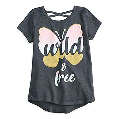 Girls 4-10 Jumping Beans® 'Wild and Free' Glittery Butterfly Graphic Tee