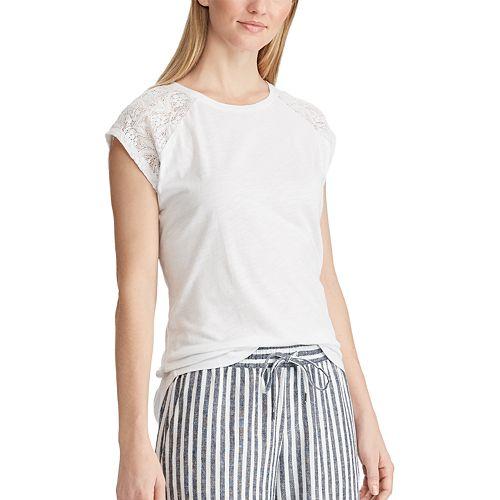 Women's Chaps Lace Cap Sleeve Tee