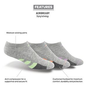 Adidas Women's Cushioned II 3-Pack No Show Sock